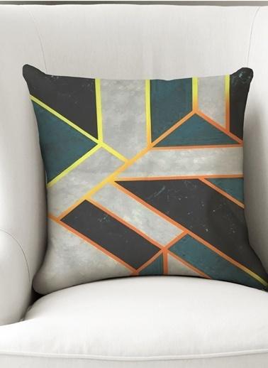 Lyn Home & Decor Yastık Kılıfı Geometrik Mavi Beyaz Renkli
